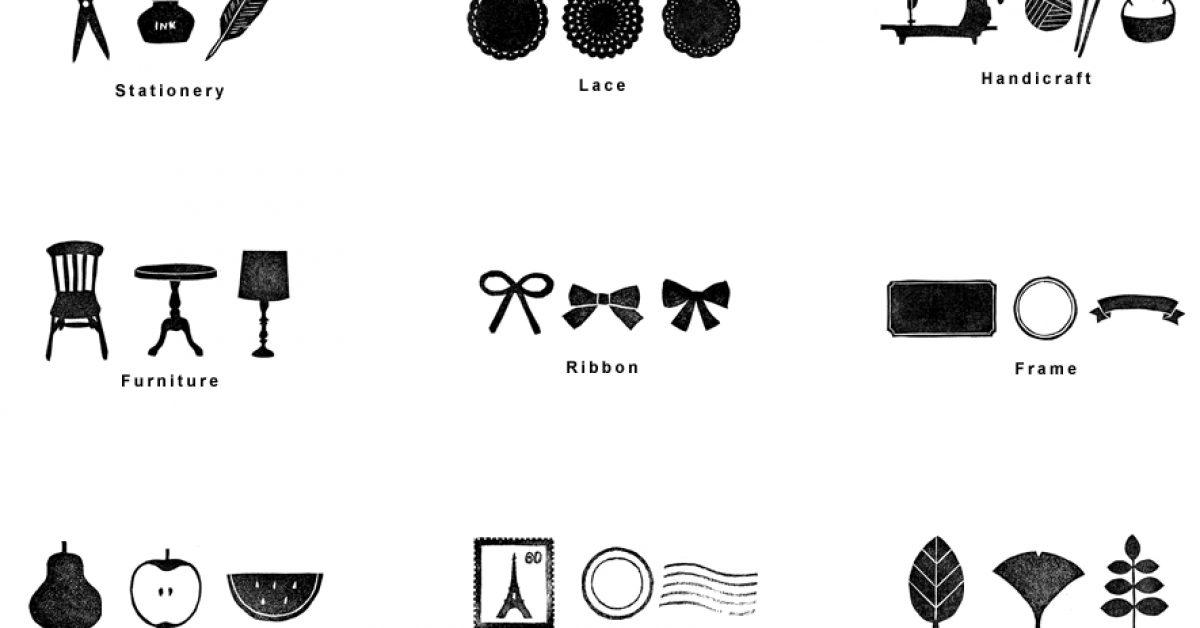 Hankodeasobu 可愛印章圖案 | 生活印章素材 | 可商用素材下載