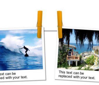 有設計感的照片牆powerpoint模板下載,共有4張的旅遊照片簡報免費推薦