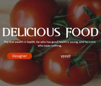 完善的餐點介紹powerpoint模板下載,共有9張的美食水果模版推薦