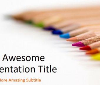 大器的彩色繪圖powerpoint模板下載,共有23張的鉛筆背景簡報推薦主題