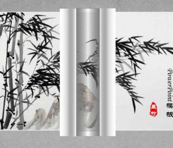 精美的書法水墨powerpoint模板下載,共有12張的卷軸背景範本模板樣式