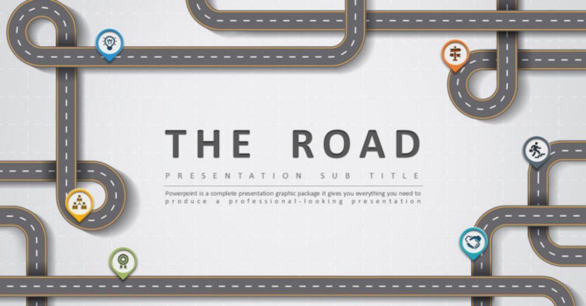 華麗的道路設計powerpoint模板下載,共有30張的創意主題簡報推薦範例